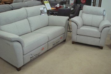 The Turner Powered 3 Seater Sofa In Fabric & Leather Armchair