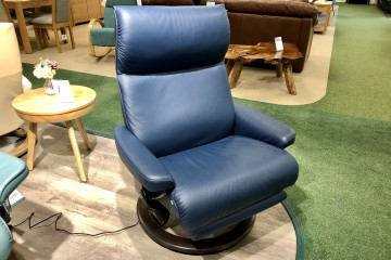 - Aura Large Swivel Recliner Chair with Powered Footrest and Battery in Leather