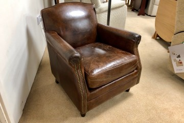 - Vintage Leather Chair with Studded-Front
