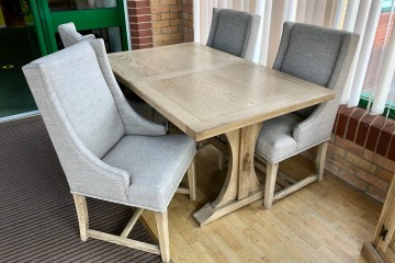 - Old Charm Lichfield 5ft Extending Dining Table (3098) with 4 Upholstered Chairs (3063)