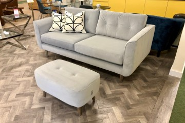 - Linden Medium Sofa and Donegal Small Footstool in Velvet