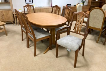 - Classic Teak Oval Extending Dining Table with 4 Slat Back Chairs and 2 Slat Back Carvers