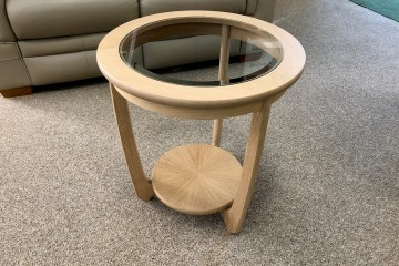 - Occasionals Oak Glass-Top Round Lamp Table