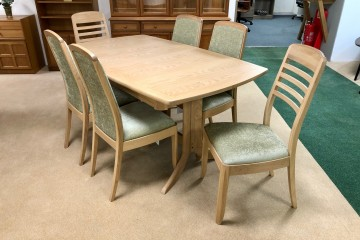 - Shades Oak Large Extending Boat-Shaped Dining Table with 4 Upholstered Chairs and 2 Ladder-Back Chairs