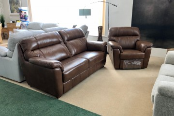 - Acacia 3-Seater Sofa and Manual-Reclining Armchair in Leather