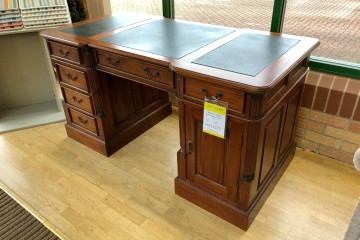 - Mahogany Village Desk with Green Leather Top